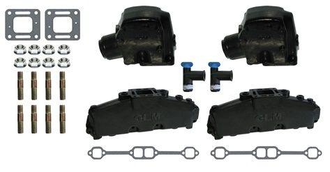 "Mercruiser 200HP/320HP V8 Exhaust Manifold Set w/ 3"" Elbows"
