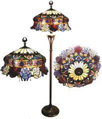 ROSES 20 Inch 3-Light Tiffany Style Floral Floor Lamp, CH1B547RF20-FL3