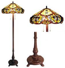VICTORIAN 19 Inch 2-Light Tiffany Style Victorian Floor Lamp, CH19817GV18-FL2