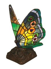 GREEN MONARCH 10 Inch 1-Light Tiffany Style Accent Lamp, CH10020GA06-NL1