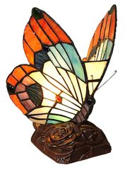 ORANGE BUTTERFLY 10 Inch 1-Light Tiffany Style Accent Lamp, CH10038OA06-NL1