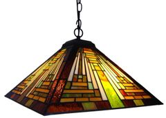 MISSION 16 Inch 2-Light Tiffany Style Mission Hanging Pendant, CH13118GM16-DH2
