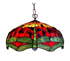 RED DRAGONFLY 18 Inch 2-Light Tiffany Style Dragonfly Hanging Pendant, CH1049DR18-DH2