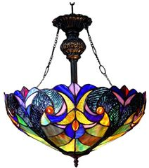 VICTORIAN 18 Inch 2-Light Tiffany Style Inverted Victorian Ceiling Pendant, CH18780VT18-UH2