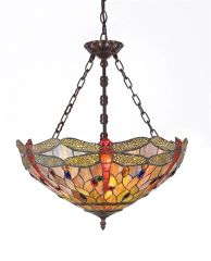 ANISOPTERA PURITY 18 Inch 3-Light Tiffany Style Inverted Dragonfly Ceiling Pendant, CH32825DB18-UH3