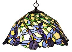 IRIS 19 Inch 2-Light Tiffany Style Floral Hanging Pendant, CH19052BF19-DH2