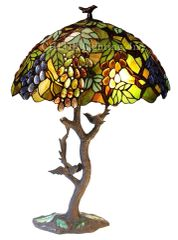 LEAF/GRAPES 20 Inch 2-Light Oval Tiffany Style Table Lamp, CH1B440GA20-TL2