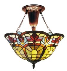 VICTORIAN 16 Inch 2-Light Tiffany Style Inverted Victorian Ceiling Pendant, CH1A631RV16-UF2
