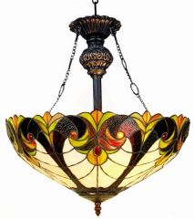 VICTORIAN IVORY 18 Inch 2-Light Tiffany Style Inverted Victorian Ceiling Pendant, CH18780VI18-UH2