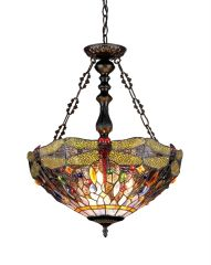 DRAGAN 18 Inch 3-Light Tiffany Style Inverted Dragonfly Ceiling Pendant, CH33341DY18-UH3