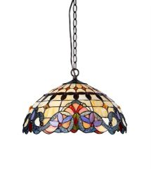 COOPER 18 Inch 2-Light Tiffany Style Victorian Hanging Pendant, CH33313VI18-DH2