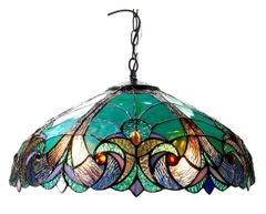 LIAISON 18 Inch 2-Light Tiffany Style Victorian Hanging Pendant, CH18780VG18-DH2