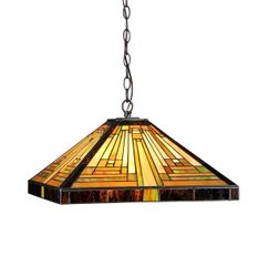 INNES 16 Inch 2-Light Tiffany Style Mission Hanging Pendant, CH33359MR16-DH2