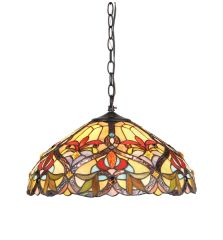 BYRON 18 Inch 2-Light Tiffany Style Victorian Hanging Pendant, CH33352VR18-DH2