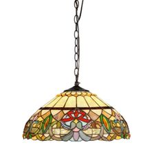 HESTER 18 Inch 2-Light Tiffany Style Victorian Hanging Pendant, CH33360VR18-DH2
