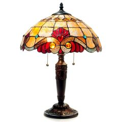 SHELLY 15 Inch 2-Light Amber Victorian Tiffany Style Table Lamp, CH15063AV15-TL2