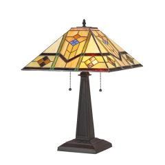 OLIVER 16 Inch 2-Light Tiffany Style Mission Table Lamp, CH35551GM16-TL2
