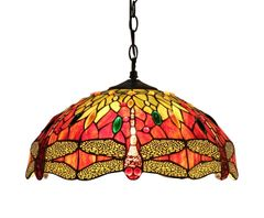EMPRESS 18 Inch 2-Light Tiffany Style Dragonfly Hanging Pendant, CH33471RD18-DH2