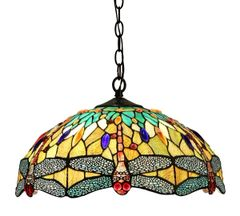EMPRESS 18 Inch 2-Light Tiffany Style Dragonfly Hanging Pendant, CH33471BD18-DH2