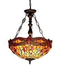 EMPRESS 18 Inch 2-Light Tiffany Style Inverted Dragonfly Ceiling Pendant, CH33471AD18-UH2
