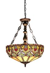 SUNNY 18 Inch 2-Light Tiffany Style Inverted Floral Ceiling Pendant, CH33453BF18-UH2