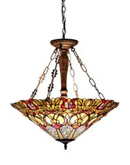 CASSANDRA 24 Inch 3-Light Tiffany Style Inverted Victorian Ceiling Pendant, CH33444GV24-UH3