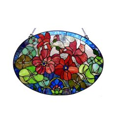CHAMBER Tiffany-glass Oval Floral Window Panel 24 Inches x 18 Inches