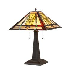 NATHAN 16 Inch 2-Light Tiffany Style Mission Table Lamp, CH35550MM16-TL2