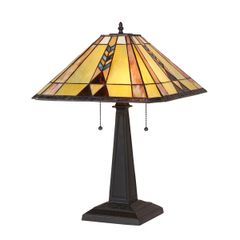 KENT 16 Inch 2-Light Tiffany Style Mission Table Lamp, CH35519BM16-TL2