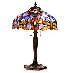 JULIA 17 Inch 2-Light Tiffany Style Dragonfly Table Lamp, CH1B717BD17-TL2