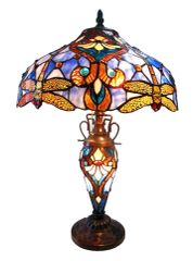 JULIA 17 Inch 3-Light Tiffany Style Double Lit Dragonfly Table Lamp, CH1B717BD17-DT3