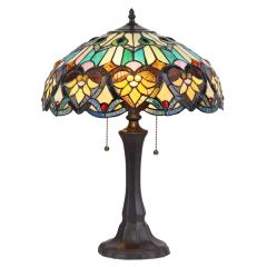 KENDALL 16 Inch 2-Light Tiffany Style Table Lamp, CH35576GV16-TL2