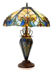 LIAISON 18 Inch 3-Light Tiffany Style Victorian Table Lamp, CH18780VA18-DT3