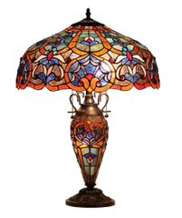 SADIE 18 Inch 3-Light Tiffany Style Victorian Double Lit Table Lamp, CH33473BV18-DT3