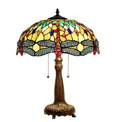EMPRESS 16 Inch 2-Light Tiffany Style Dragonfly Table Lamp, CH33471BD16-TL2