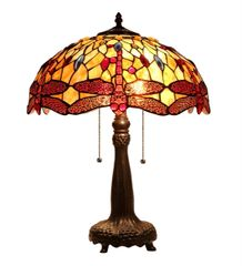 EMPRESS 16 Inch 2-Light Tiffany Style Dragonfly Table Lamp, CH33471AD16-TL2