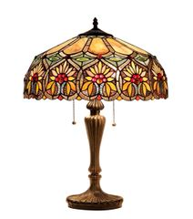SUNNY 18 Inch 2-Light Tiffany Style Floral Table Lamp, CH33453BF18-TL2
