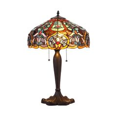 PIXIE 16 Inch 2-Light Tiffany Style Table Lamp, CH35425BV16-TL2