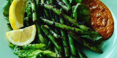 blackened, blackened string beans, signature dish, cooking, vegan, cajun, spices, spicy, green beans