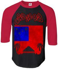 T-Shirt: Flag Samoa Black, Red Half Sleeves