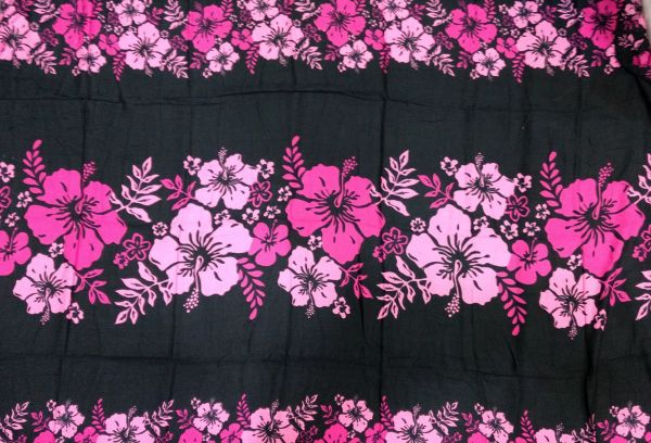 Casual Lavalava Black Base Pink Hibiscus