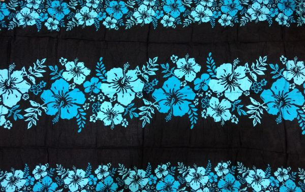 Casual Lavalava Black Base Blue Hibiscus