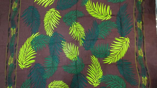 Casual Lavalava Brown Base Lime and Green Leaves