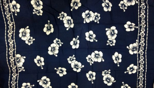 Casual Lavalava Navy Blue Base with white Hibiscus