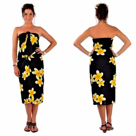 Plus Size Lavalava Black Base Yellow Plumeria