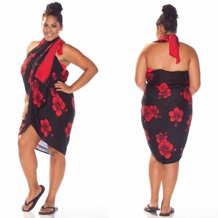 Plus Size Lavalava, Black Base Red Hibiscus
