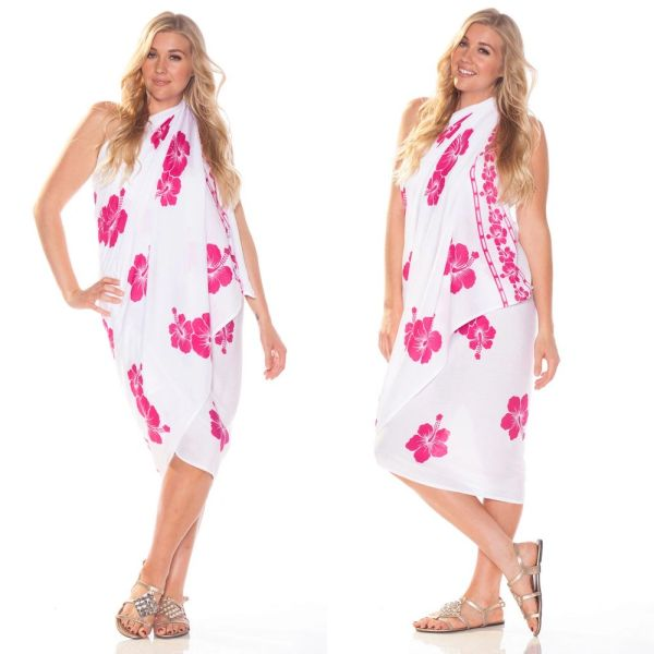 Plus Size Lavalava, White with Pink Hibiscus