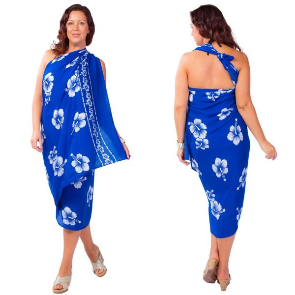 Plus Size Lavalava, Blue with White Hisbiscus Fringeless