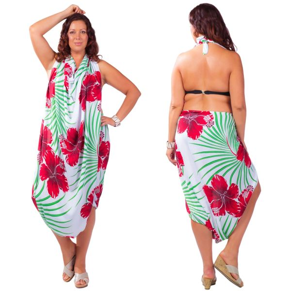 Plus Size Lavalava, White with Red Hibiscus and Green Fern