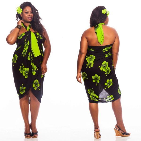 Plus Size Lavalava - Black, Lime Green Hibiscus